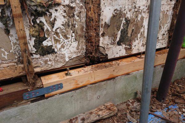 壁をむいたら、土台・柱が…